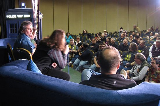 A View from the Stage: A stage view of Doctor Who: Podshock recording Episode 141 on stage in front an audience at Gallifrey 20 (February 2009). This is from the early on in the show while interviewing Phil Colinson. Thanks to all those that made it to this Sunday morning recor